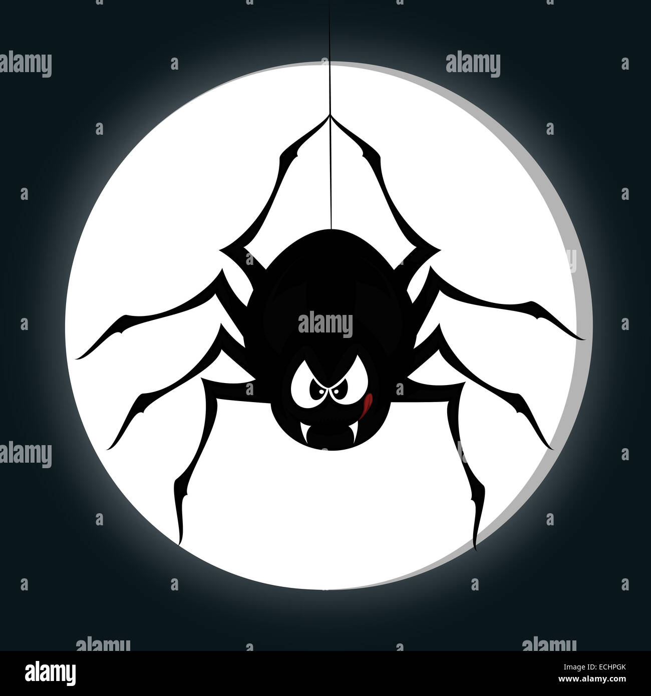 a black cartoon-style spider is snarling and licking mouth with angry eyes while hanging on his spider thread - Stock Image