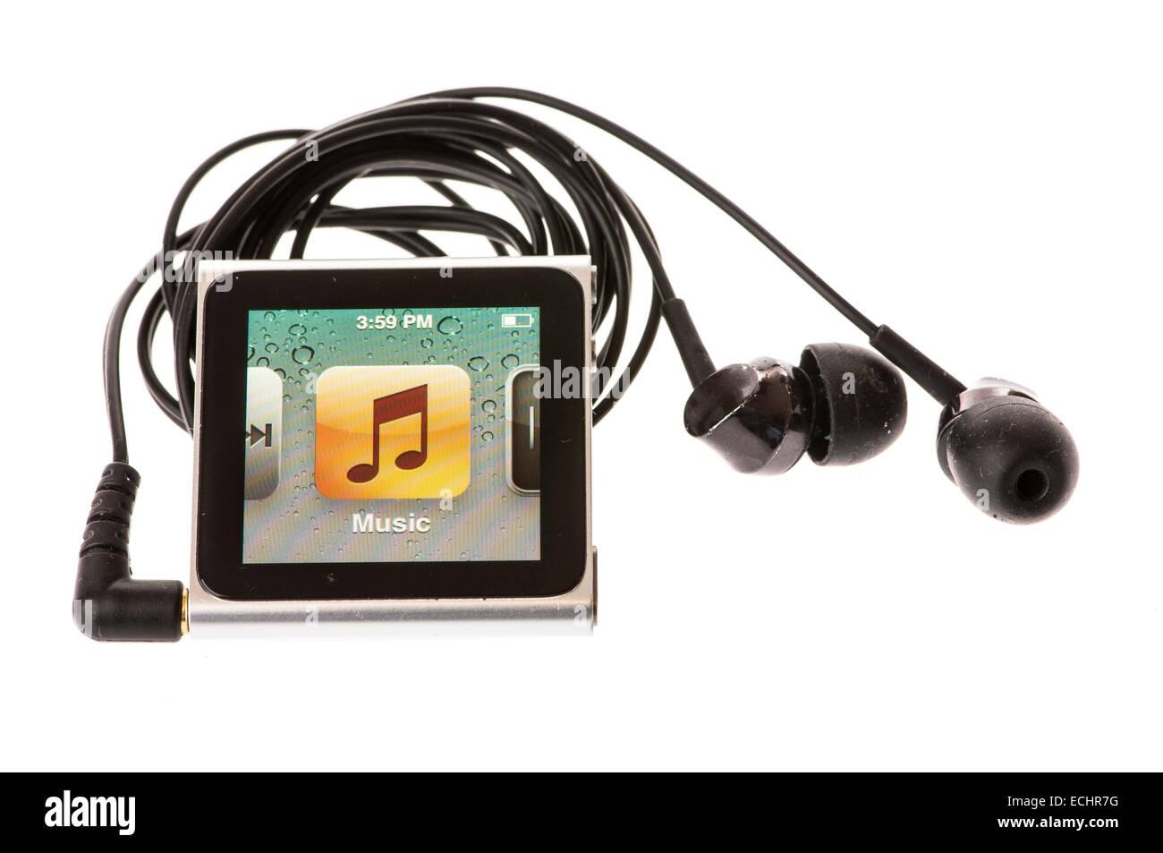 Apple iPod Nano (7th Generation) showing the music menu option - Stock Image