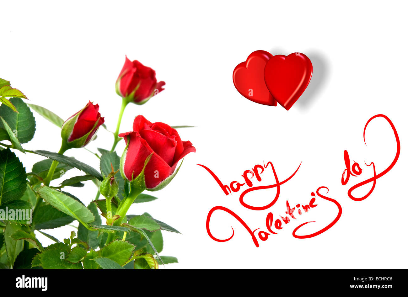 Red Roses With Hearts And Greetings For Valentines Day Stock Photo