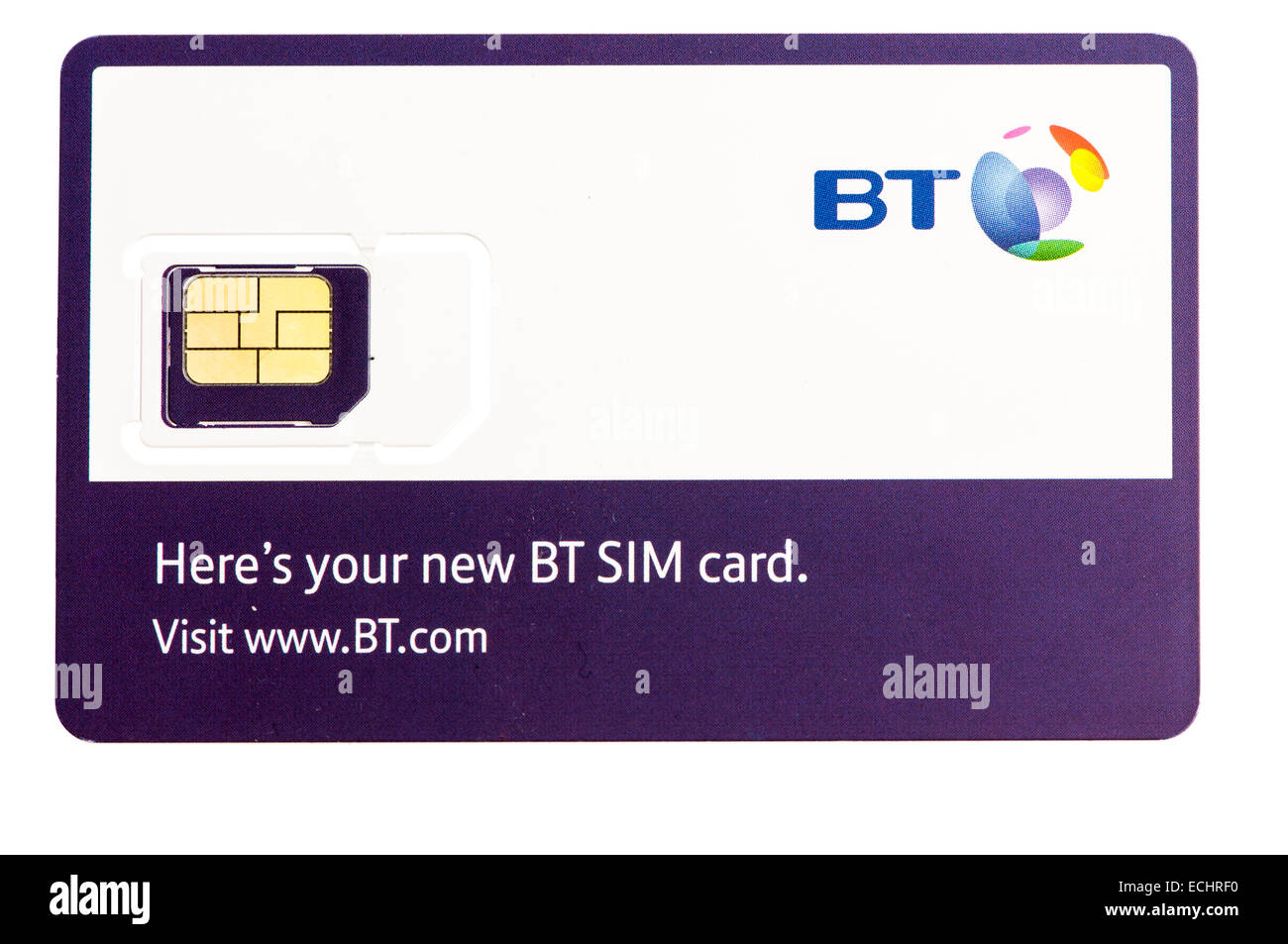 BT Mobile phone SIM card - Stock Image