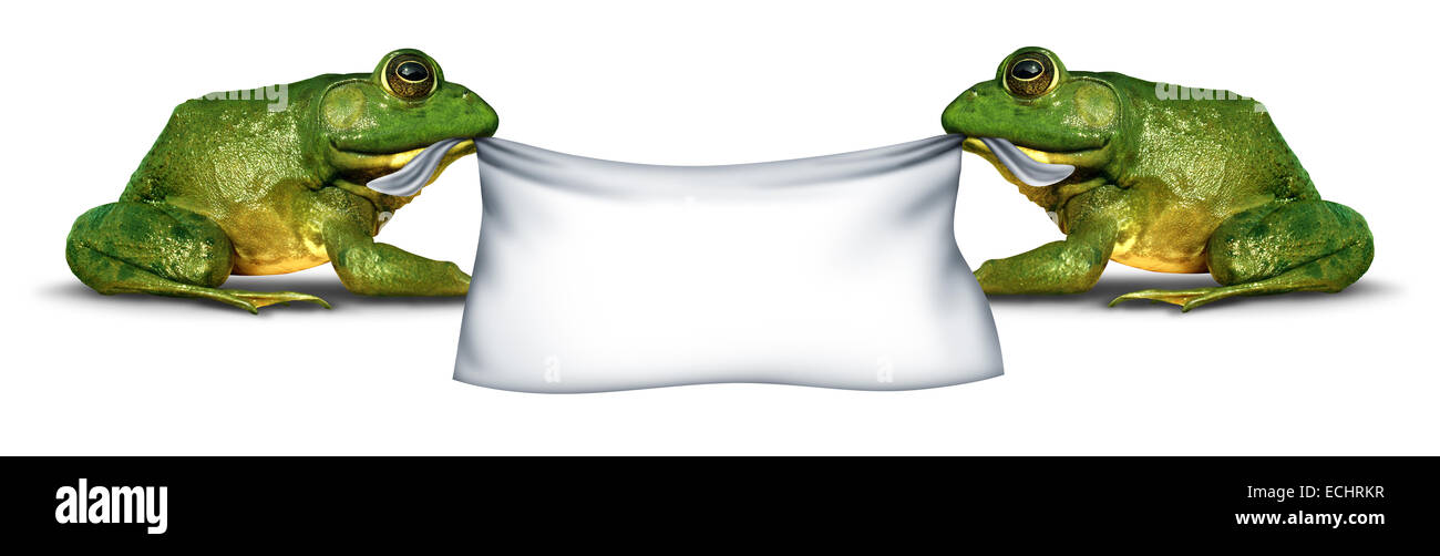 Frog banner sign holding blank signage by two green happy smiling humorous amphibians as a symbol for nature and - Stock Image