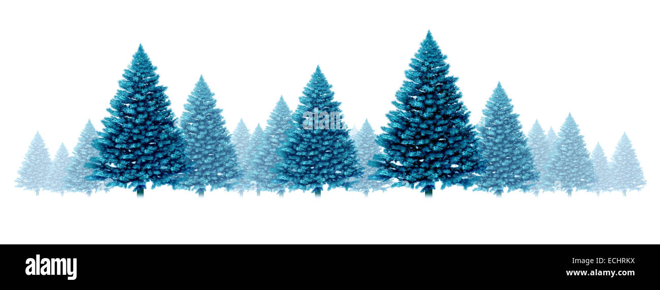 Winter blue pine tree background seasonal holidays design element border design with a group of  Christmas trees - Stock Image