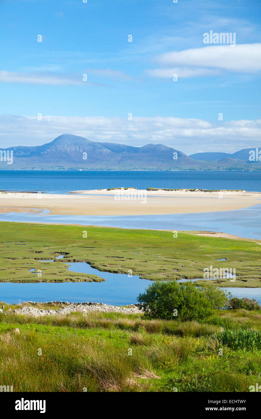 View towards Croagh Patrick from Mulranny, Clew Bay, County Mayo, Ireland. - Stock Image