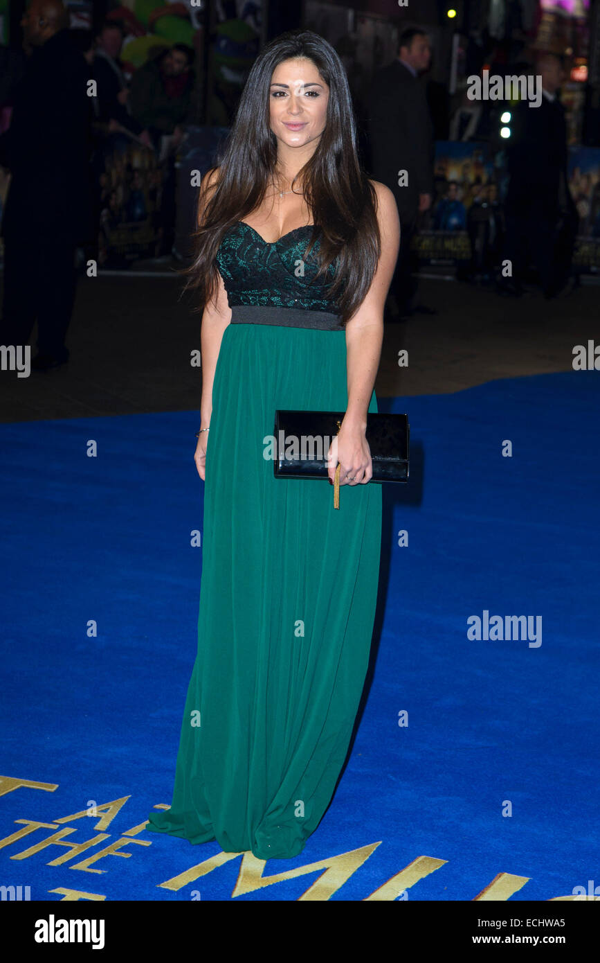 London, UK. 15th December, 2014. Casey Batchelor attends the Night at the Museum Secret of the Tomb European Premiere - Stock Image