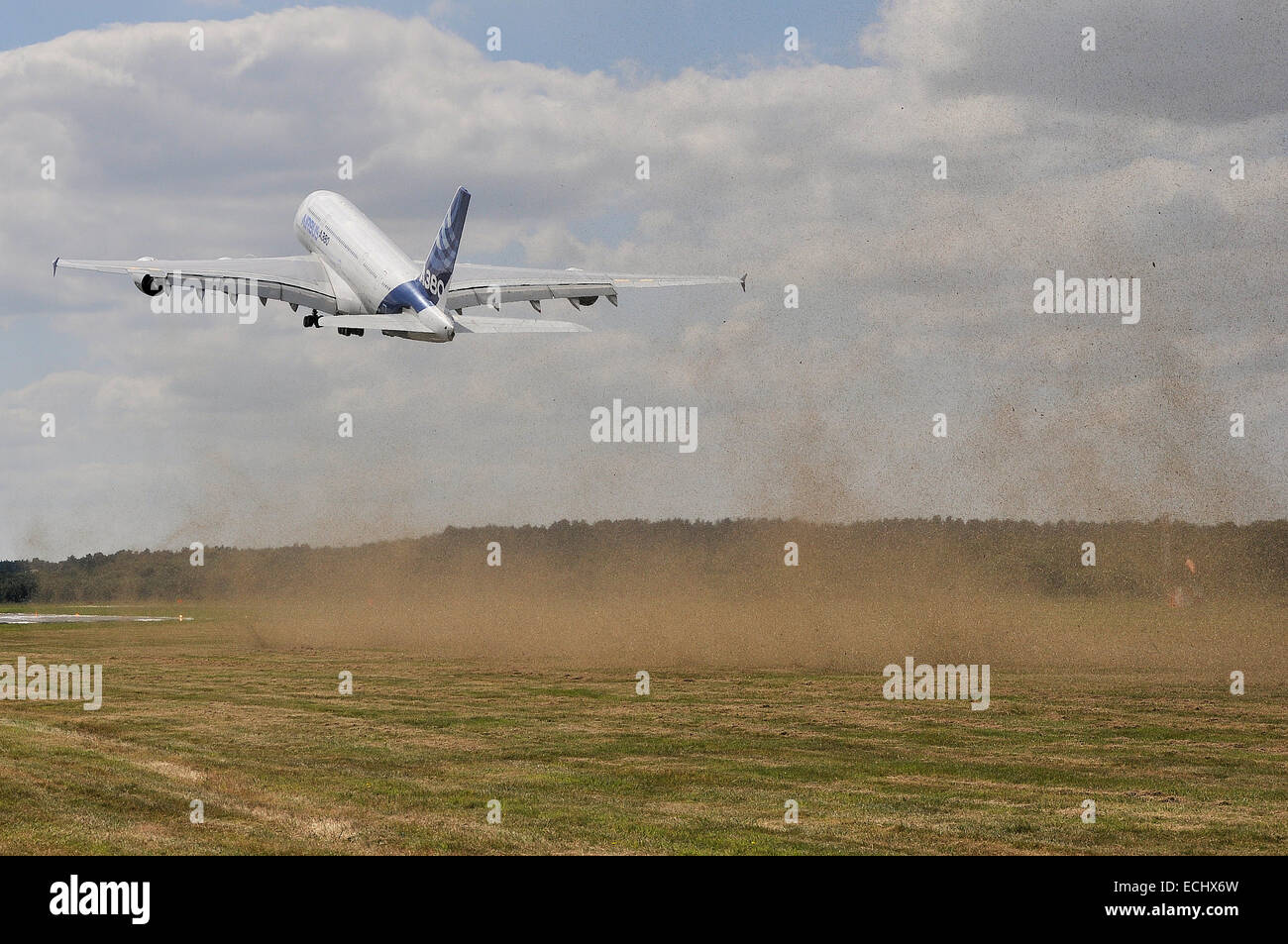 The A380 is a double-deck, wide-body, four-engine jet airliner manufactured by Airbus. It is the world's largest Stock Photo
