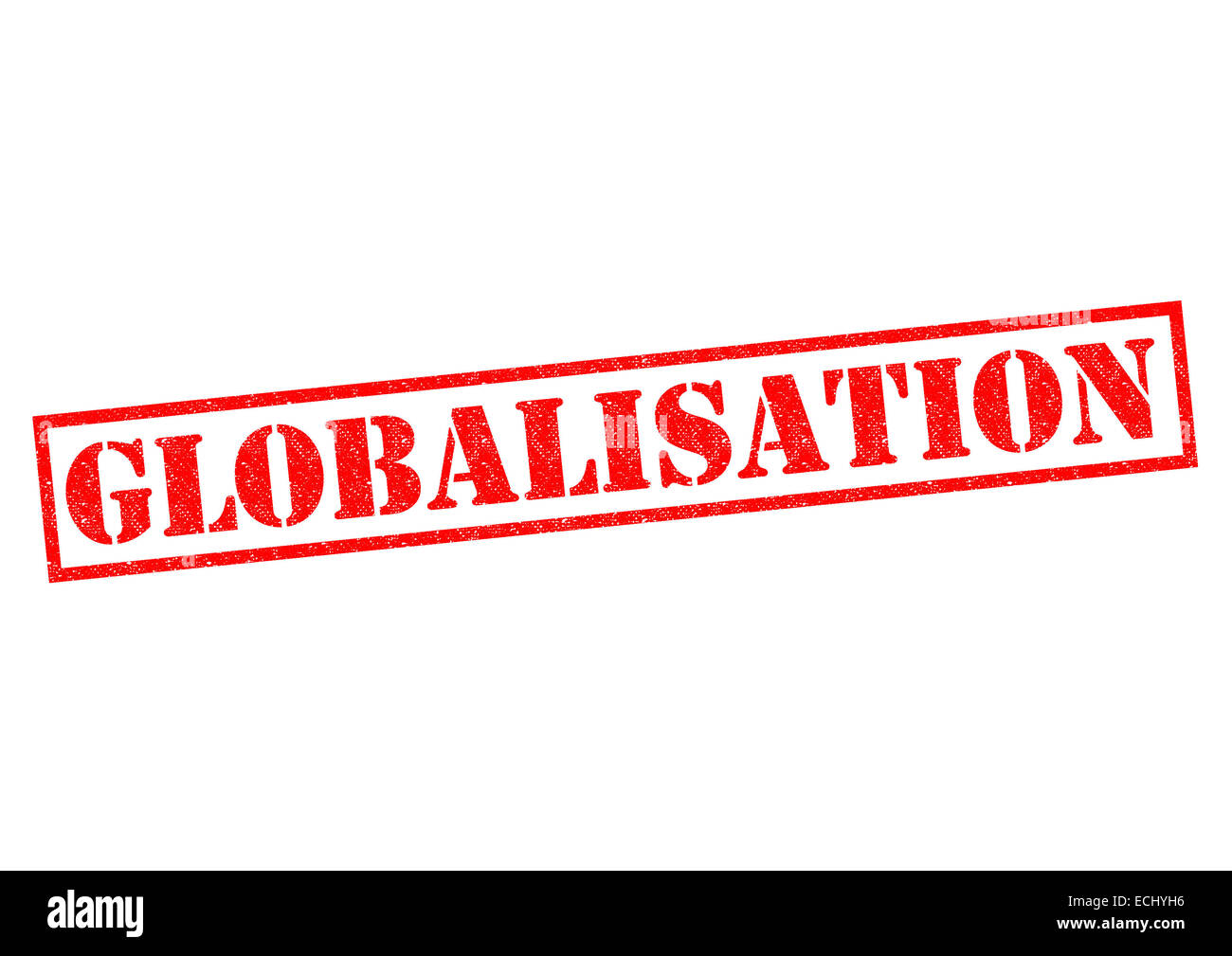 GLOBALISATION red Rubber Stamp over a white background. - Stock Image