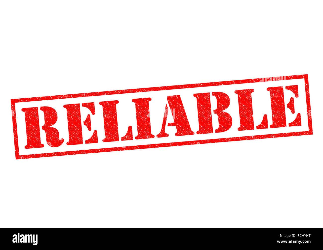 RELIABLE red Rubber Stamp over a white background. - Stock Image