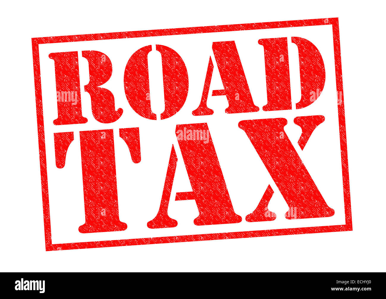 ROAD TAX red Rubber Stamp over a white background. - Stock Image