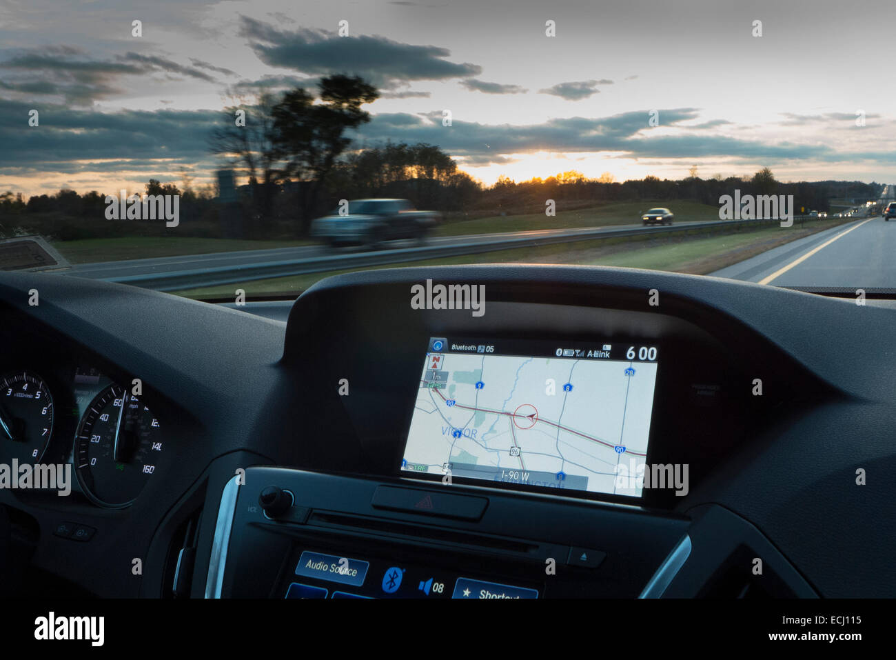 On the road with GPS. - Stock Image