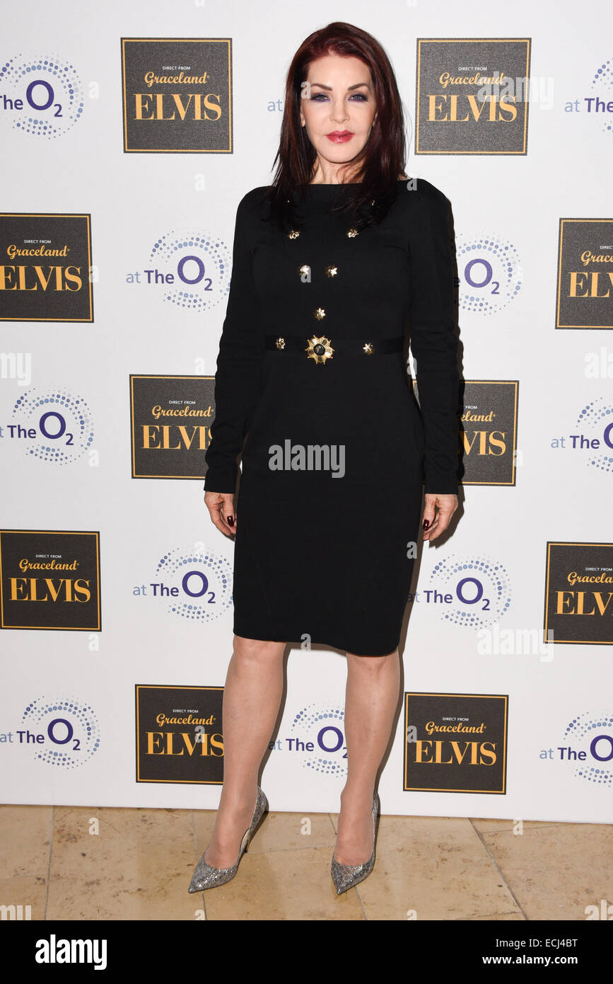 London,UK, 15th December 2014 : Guest of Honour Priscilla Presley attends the Elvis at The O2 Gala Night at the - Stock Image