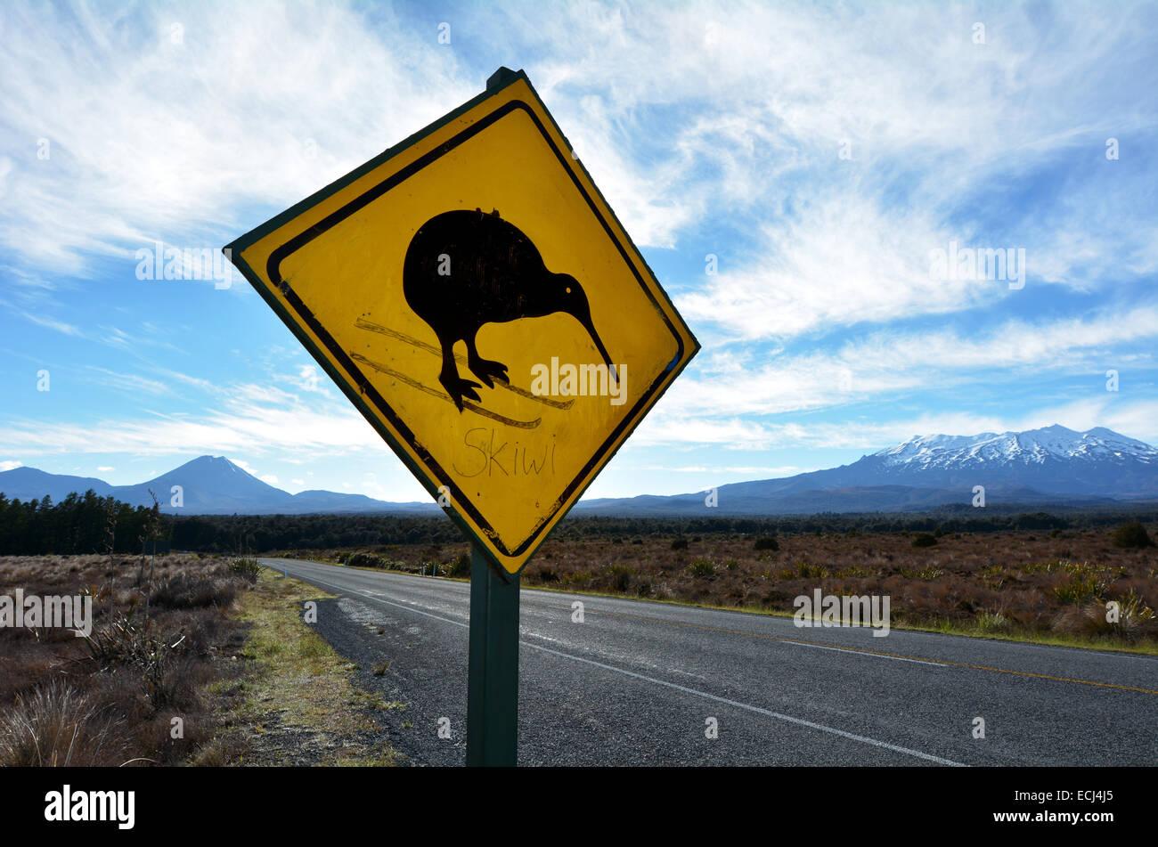 NATIONAL PARK, NZ - DEC 8 2014: Beware of Kiwi roadsign in Tongariro National Park. - Stock Image