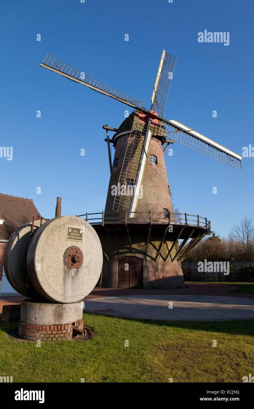 France, Nord, Halluin, grain mill Hollebeke - Stock Image