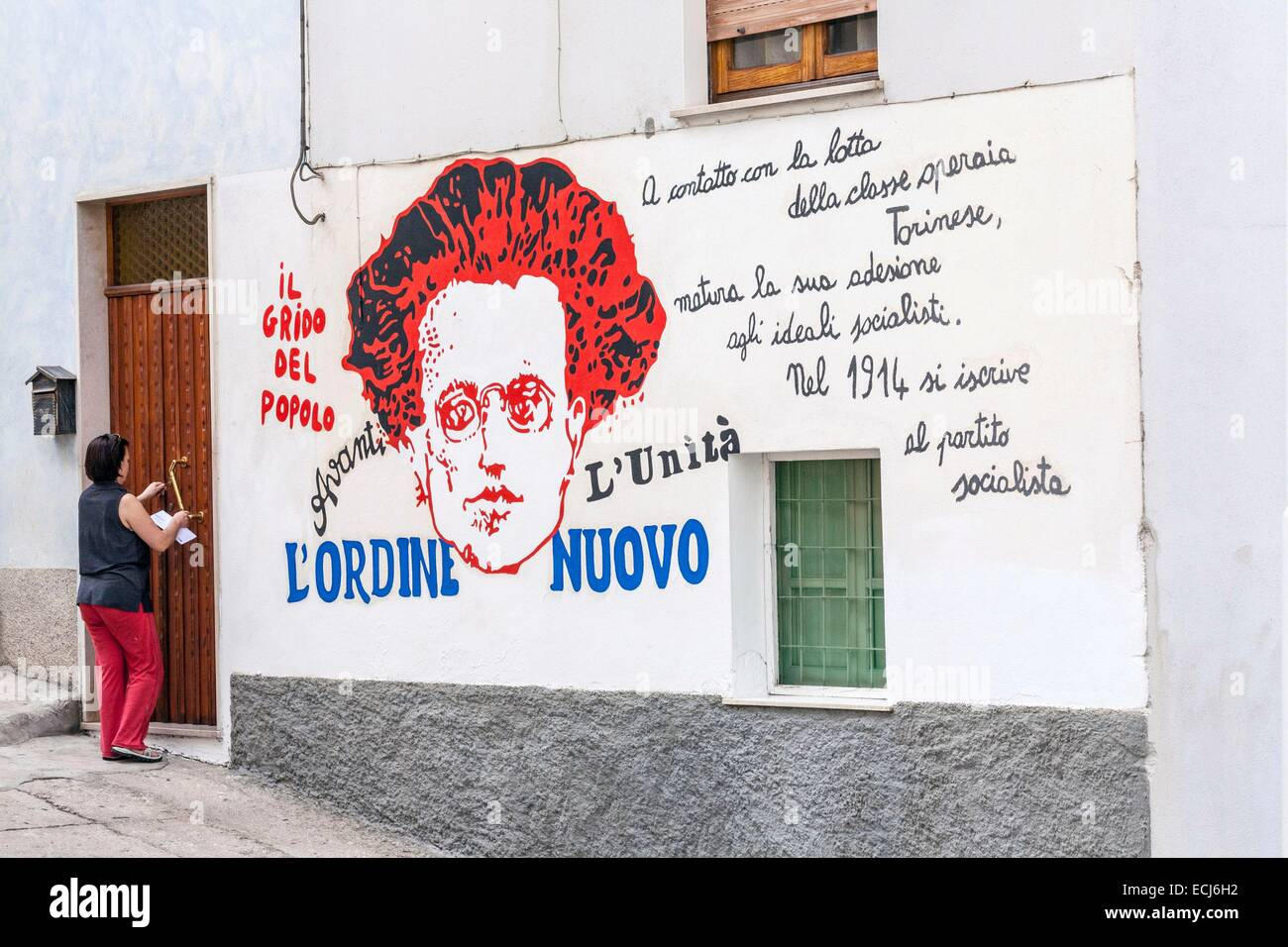 Italy, Sardinia, Nuoro province, Orgosolo, a village known for its 400 murals often politically motivated, the first - Stock Image