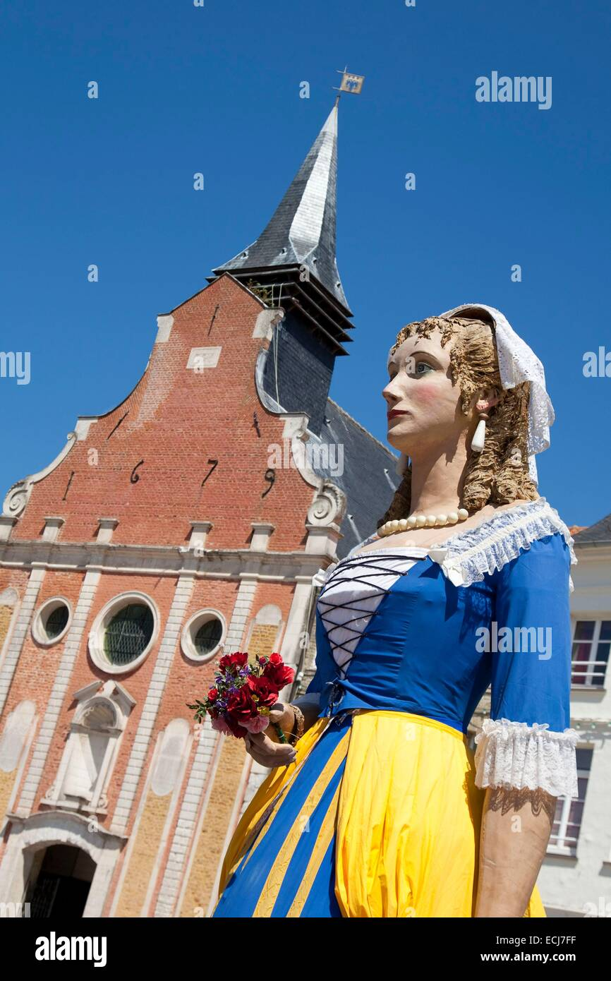 France, Pas de Calais, Ardres, output of the giant at the feast of the Belle Roze - Stock Image