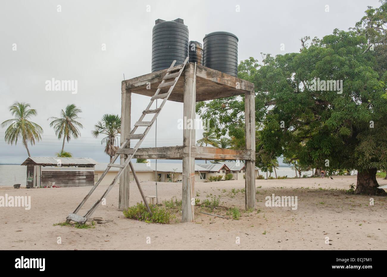 Water reservoir at the Amerindian village of Christiaankondre, Galibi, Suriname - Stock Image
