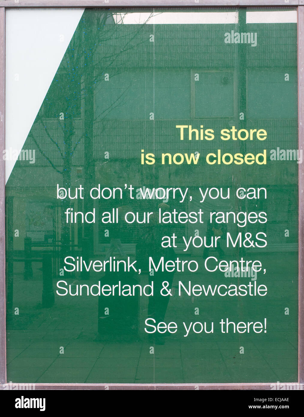 Sign on window of closed Marks and Spencer's store in South Shields, north east England UK - Stock Image