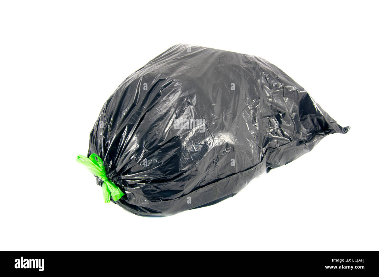 black garbage rubbish bag on white background with clipping path isolated on white - Stock Image