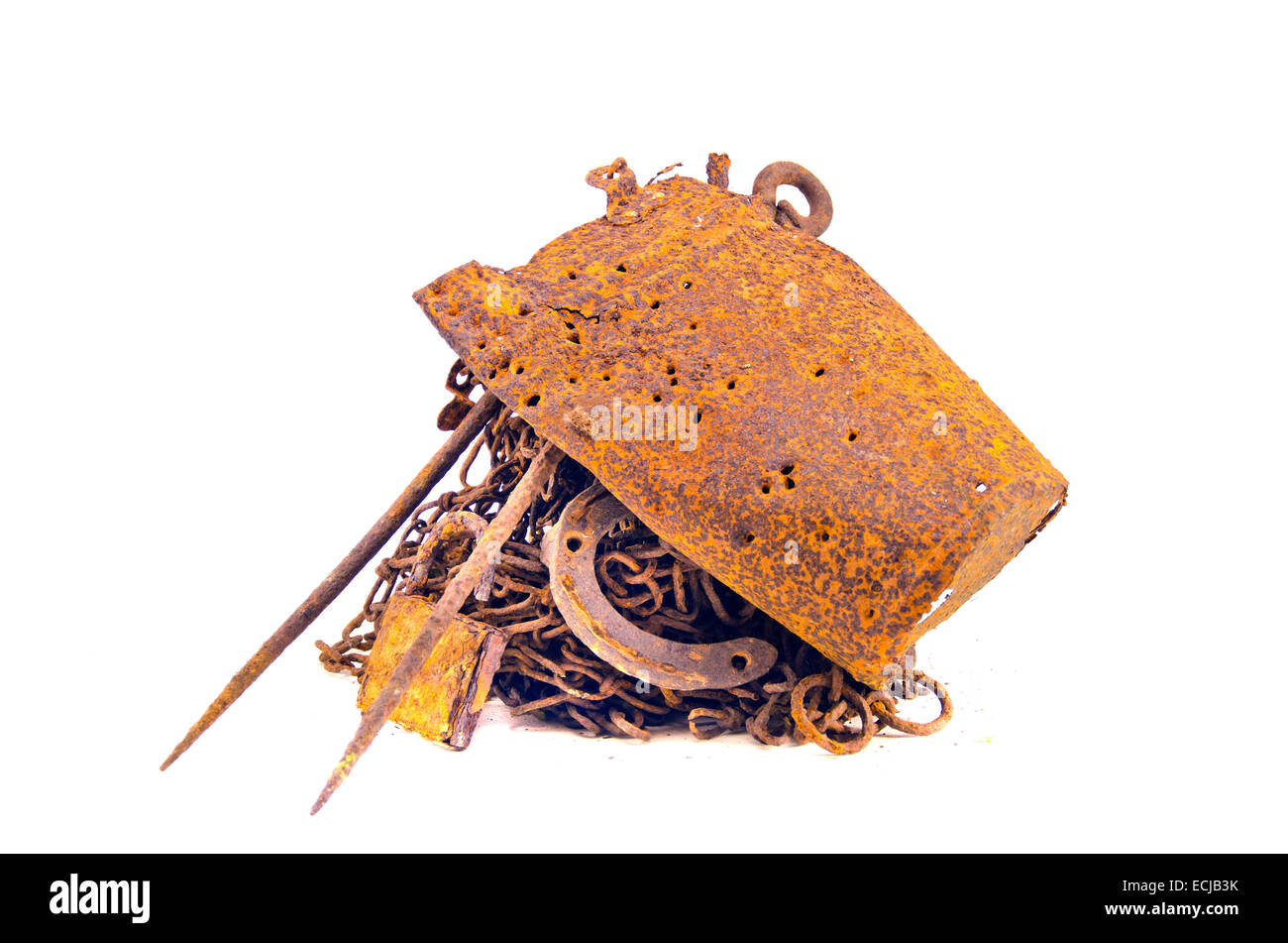 rusty iron steel metal scrap for recycling  isolated on white background - Stock Image