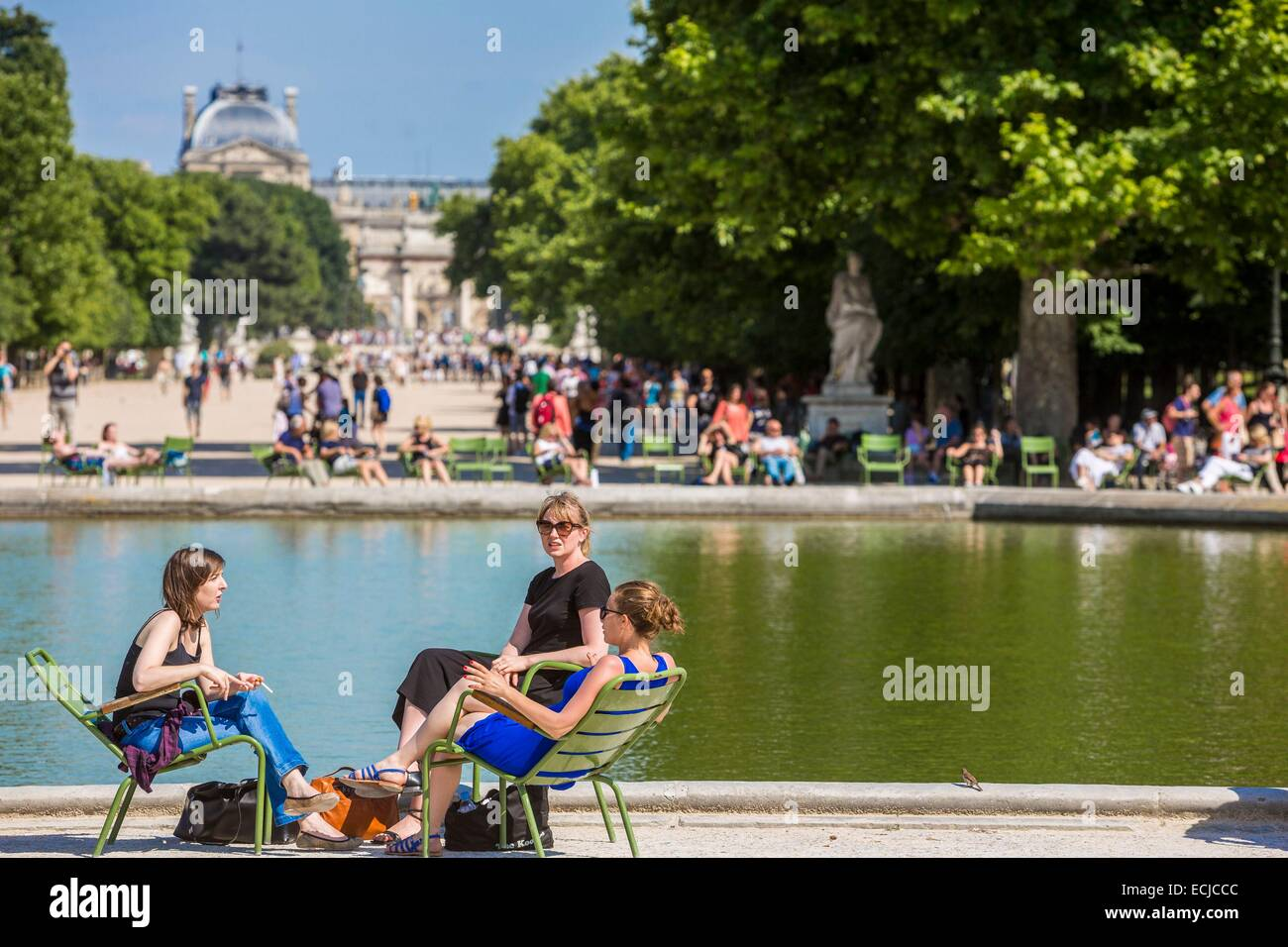 France, Paris, area listed as World Heritage by UNESCO, the Tuileries Gardens, listed as historical monuments in - Stock Image