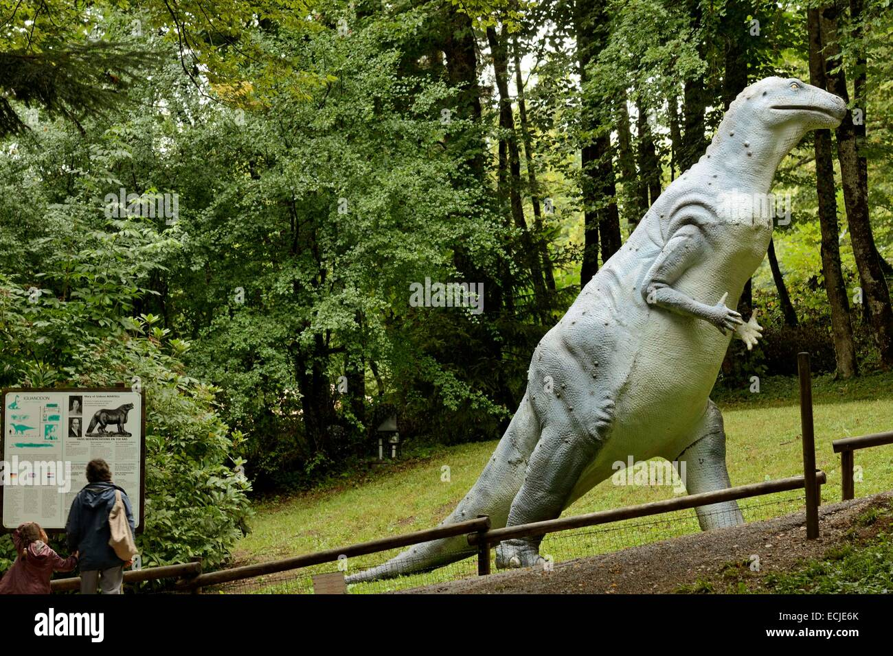 France, Doubs, Charbonnieres les Sapins, Dino Zoo prehistoric park, Iguanodon - Stock Image