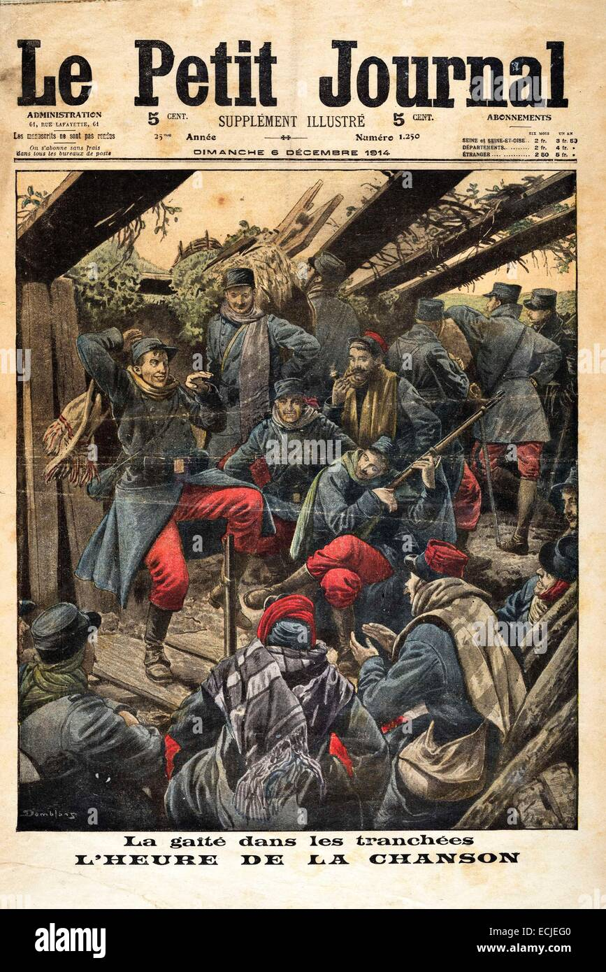 Le Petit Journal, illustrated supplement Sunday, December 6, 1914 cover The gaiety time in the trenches of the songStock Photo