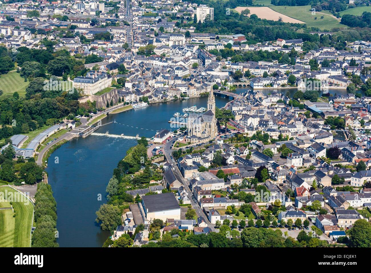 France, Sarthe, Sable sur Sarthe, the town on the Sarthe river (aerial view) - Stock Image