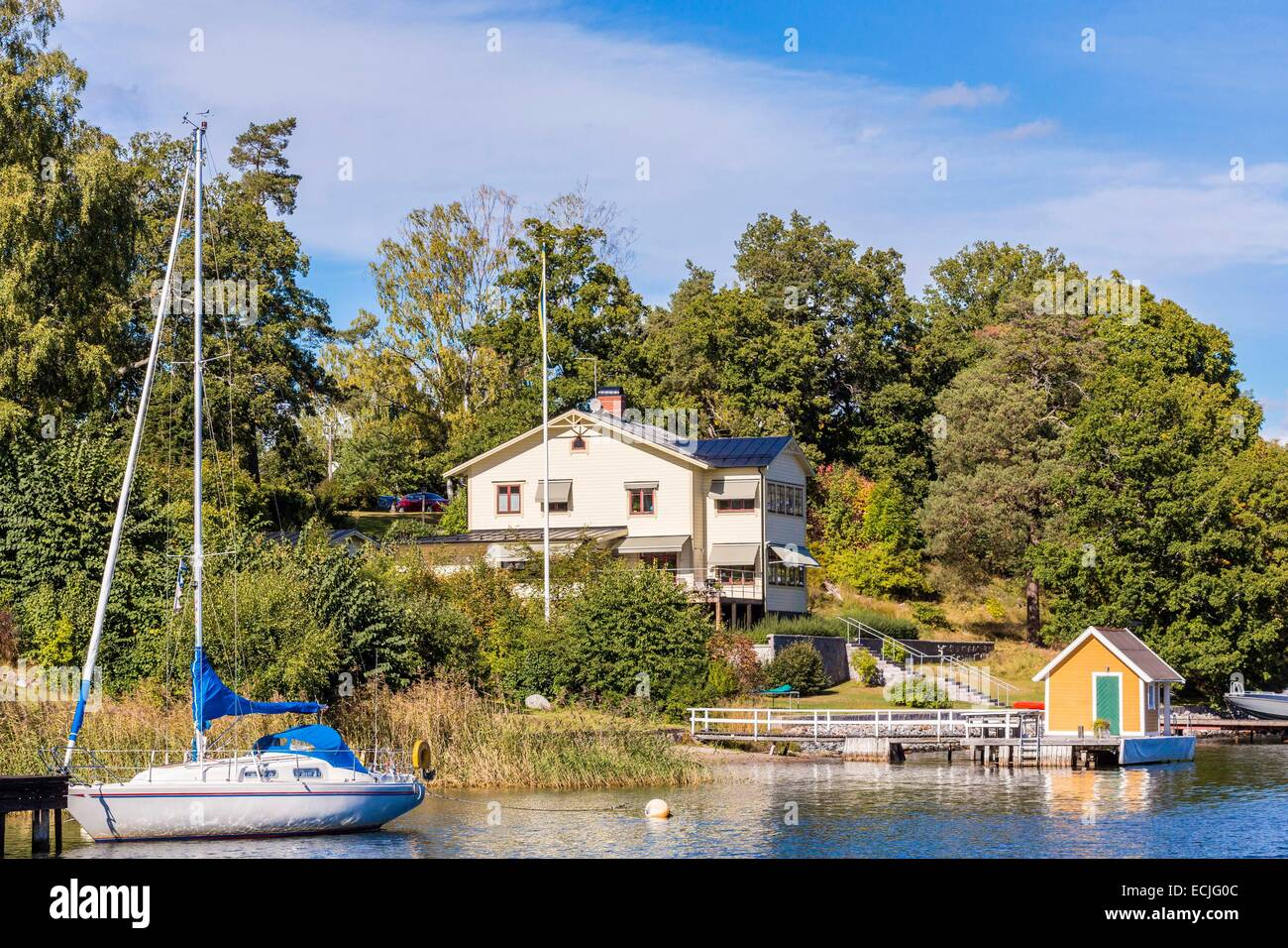 Sweden, Stockholm, Stockholm archipelago is one of the largest in the entire Baltic Sea and includes 30,000 islands, - Stock Image