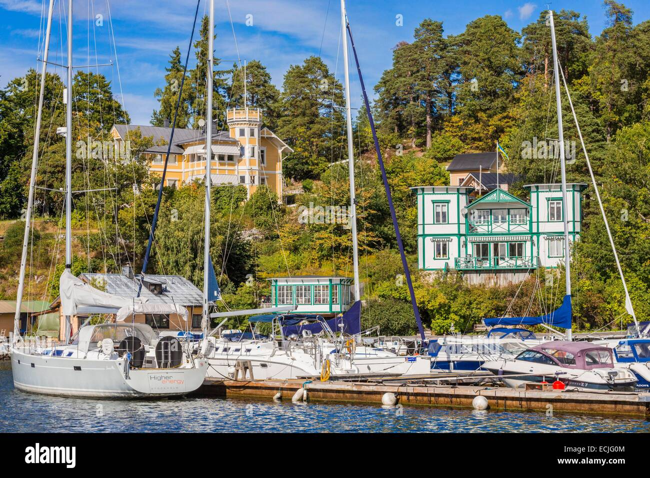 Sweden, Stockholm, Stockholm archipelago is one of the largest in the entire Baltic Sea and includes 30,000 islands, Stock Photo
