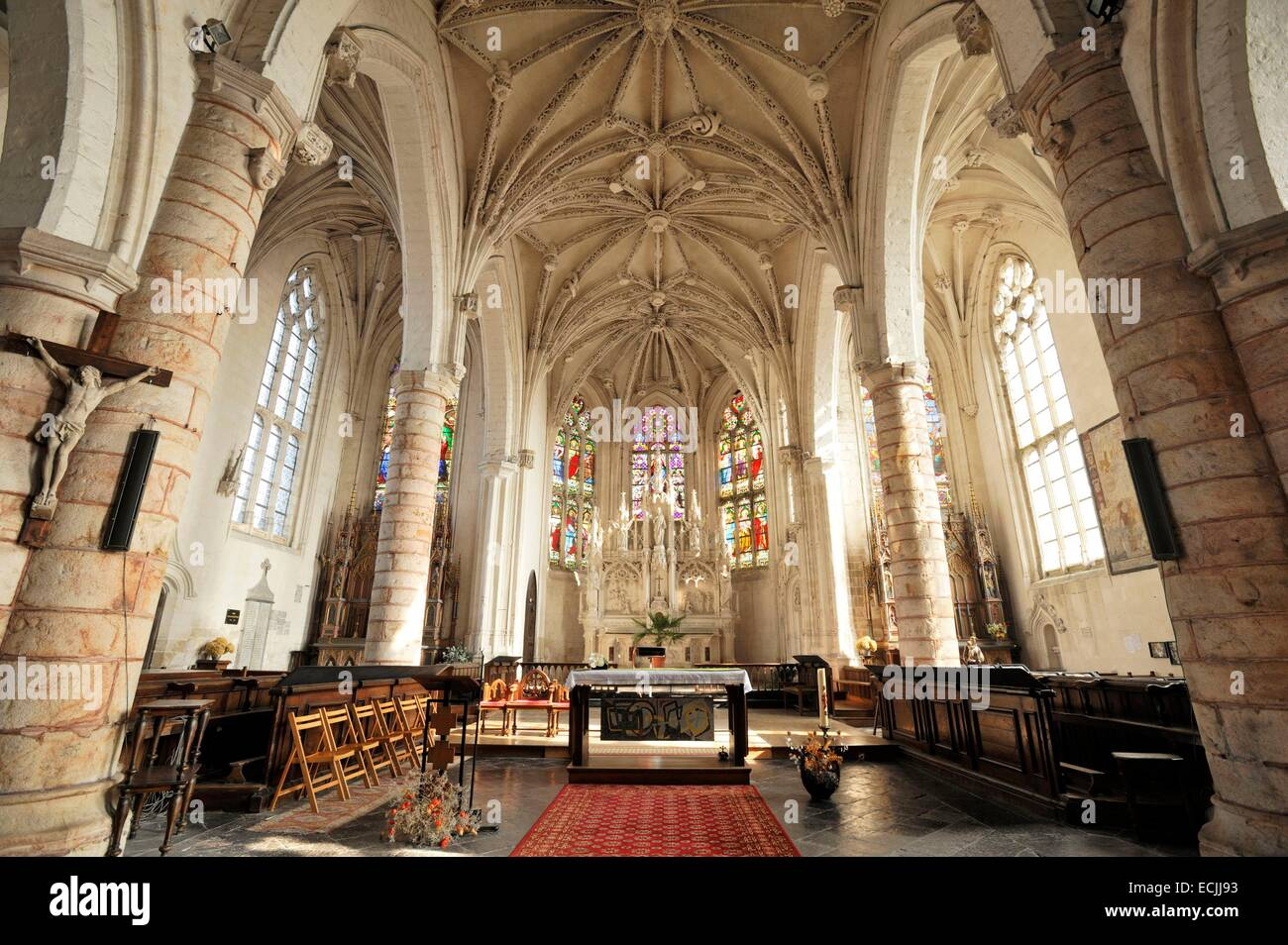 France, Pas de Calais, Auxi le Château, flamboyant Gothic style Church of Saint Martin dating from the 16th - Stock Image