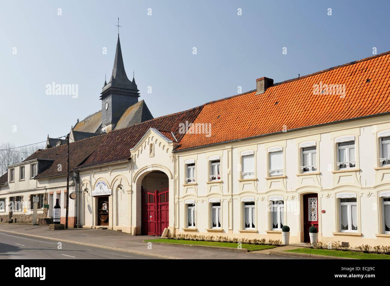 France, Pas de Calais, Fressin, flamboyant Gothic style Church Saint Martin behind the main street - Stock Image