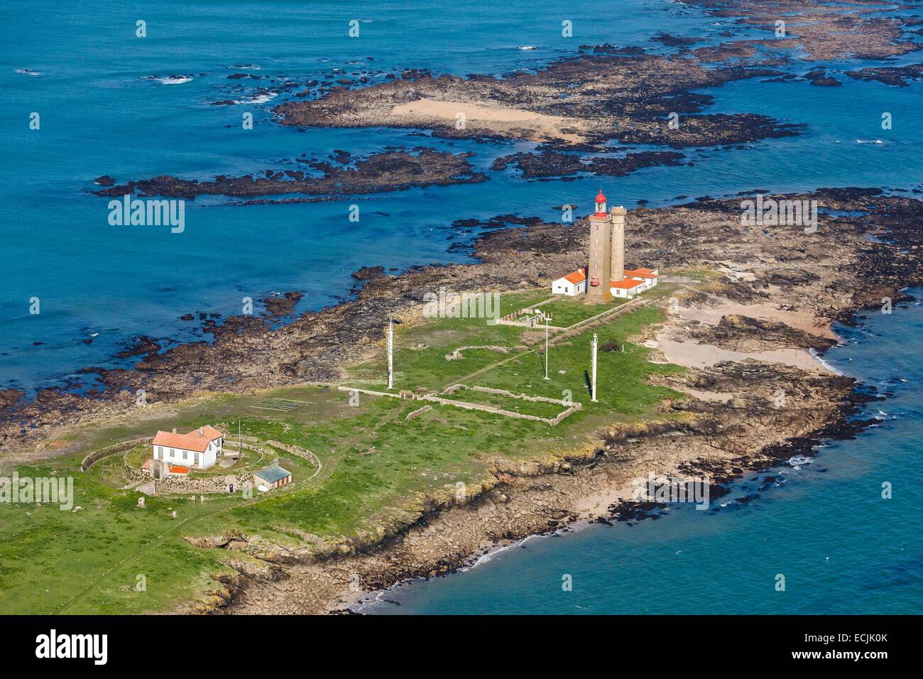 France, Vendee, Ile du Pilier, the semaphore and the lighthouse (aerial view) Stock Photo
