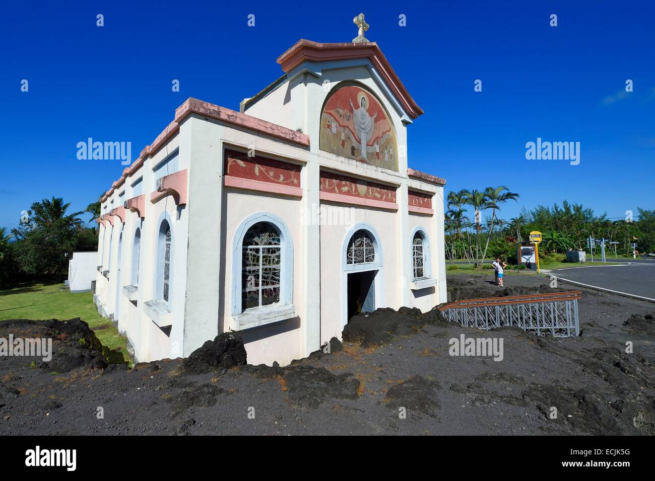 France, Reunion island (French overseas department), Piton Sainte Rose, Notre Dame des Laves church spared by the - Stock Image