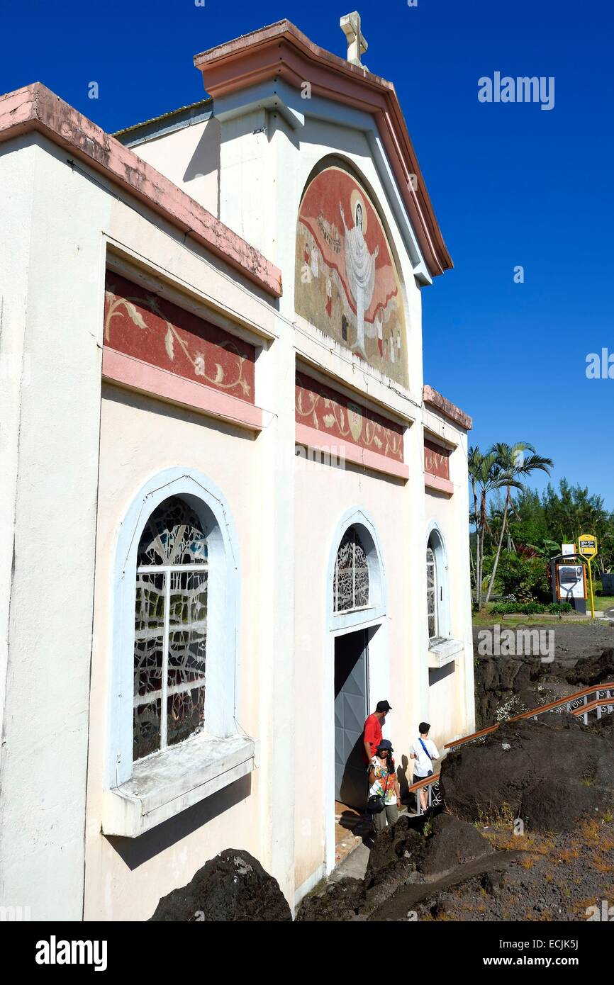 France, Reunion island (French overseas department), Piton Sainte Rose, Notre Dame des Laves church spared by the Stock Photo