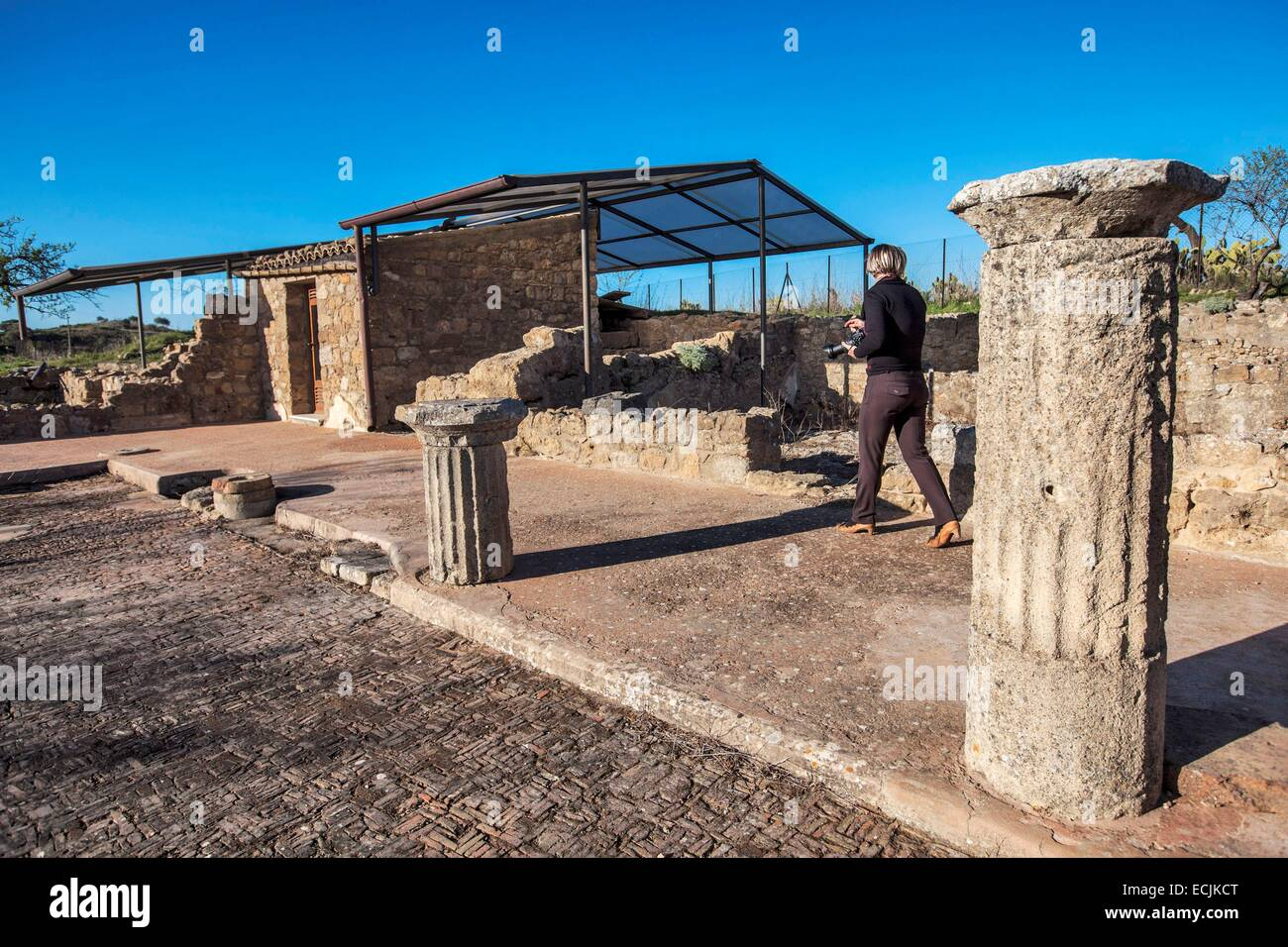 Italy, Sicily, Morgantina, an ancient Greek city excavated by an archaeological mission in the fall of 1955, The - Stock Image