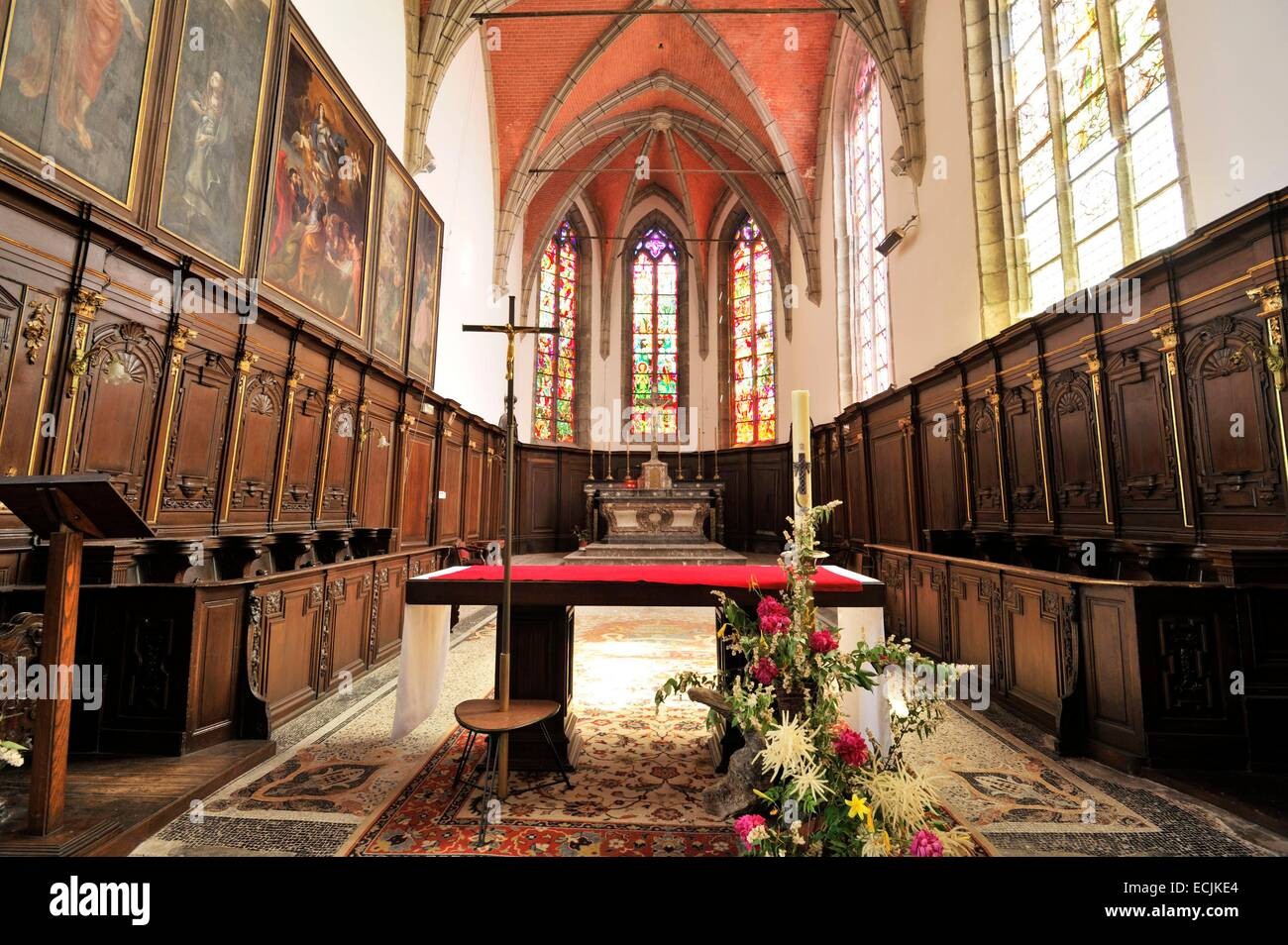 France, Nord, Solre le Chateau, Altar of the Saint Pierre Saint Paul's church - Stock Image