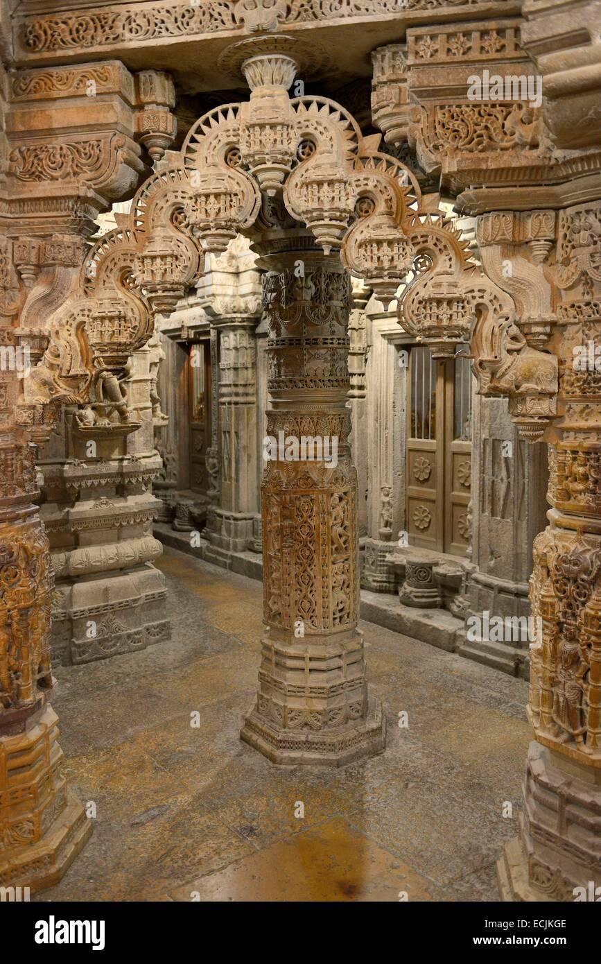 India, Rajasthan, Jaisalmer, Chandra Prabhu temple - Stock Image
