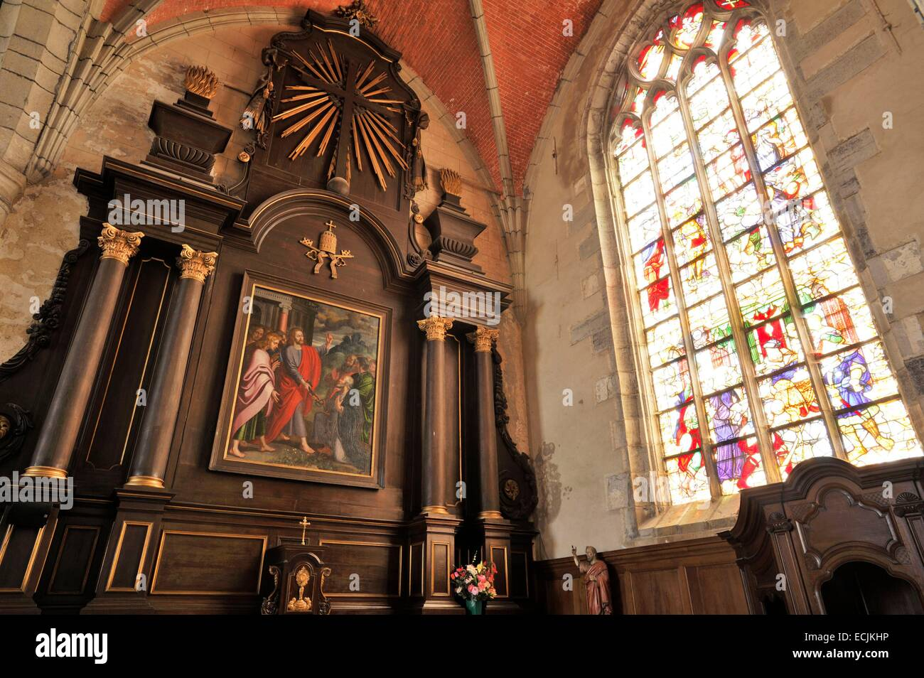 France, Nord, Solre le Chateau, Saint Pierre Saint Paul's church windows - Stock Image
