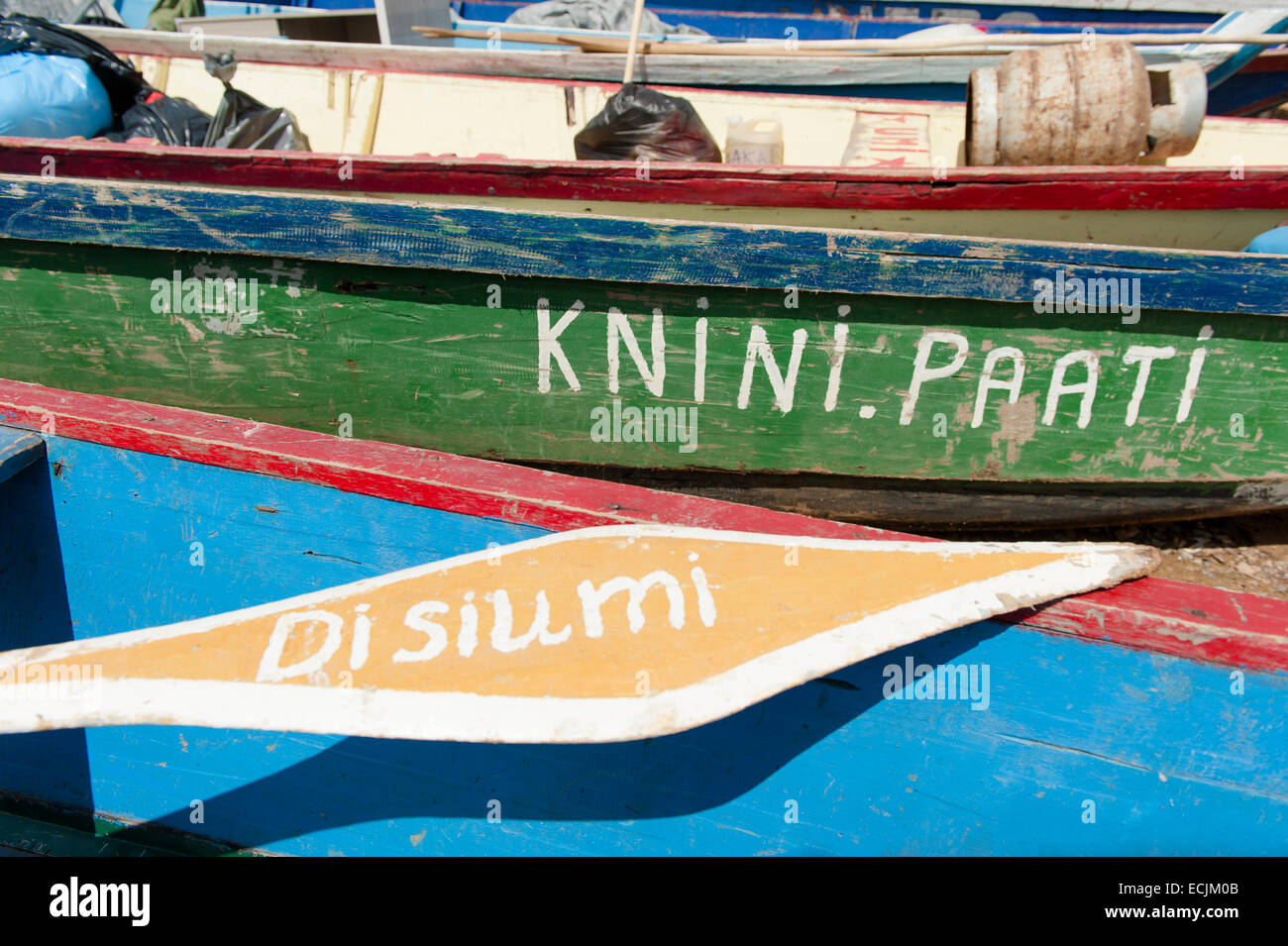Detail of a Karjole (canoe) at the river port of Atjoni, Pokigron, Suriname - Stock Image