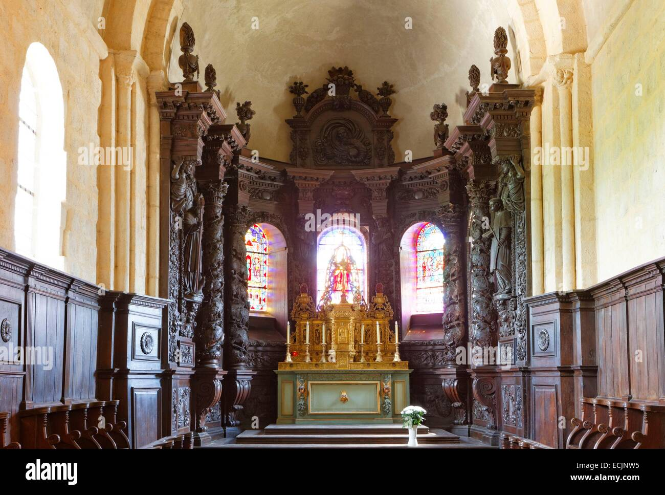 France, Creuse, Ahun, church of Saint Sylvain, woodwork of the 17th century - Stock Image