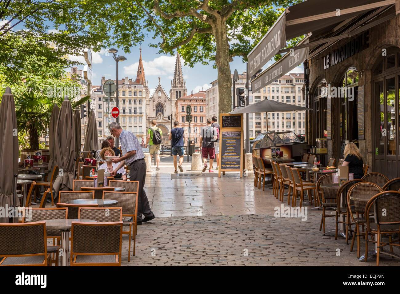 France, Rhône, Lyon, classified historic site UNESCO world heritage, Old Lyon since the place du Change with - Stock Image