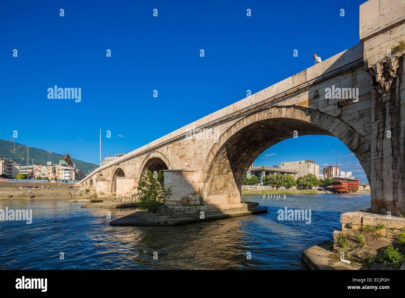 Republic of Macedonia, Skopje, city center, the Stone Bridge - Stock Image