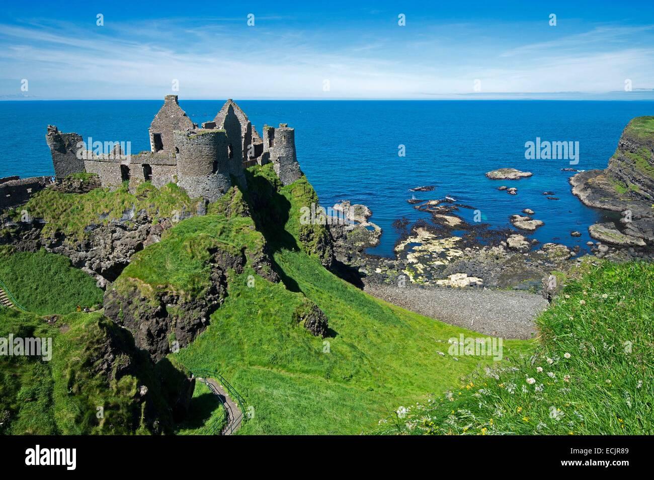 United Kingdom, Northern Ireland, County Antrim, Bushmills, the 14th century castle of Dunluce - Stock Image