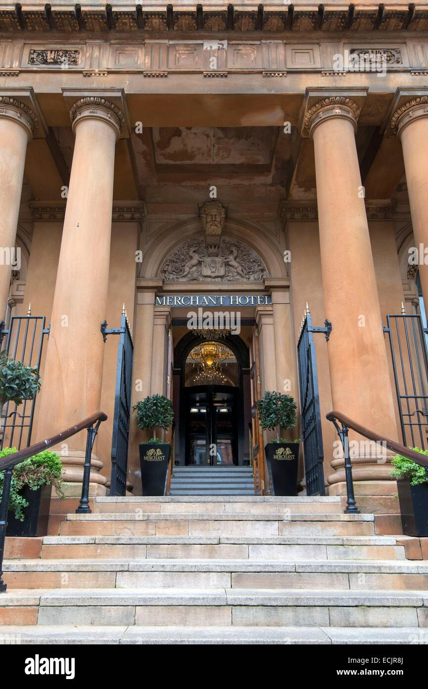United Kingdom, Northern Ireland, Belfast, the 5 star hotel the Merchant in the old Ulster Bank building in the - Stock Image