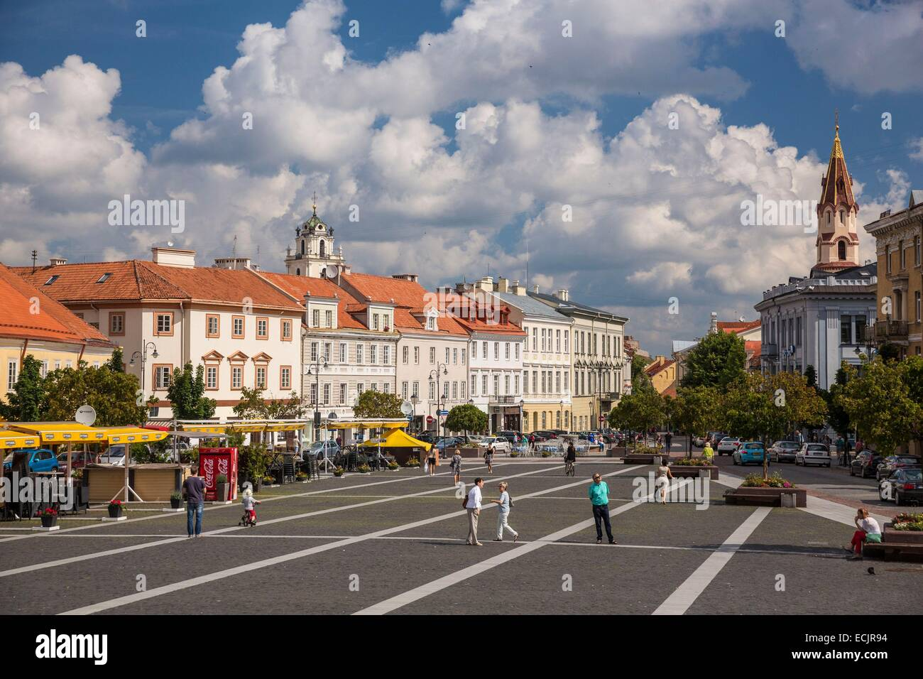 Lithuania (Baltic States), Vilnius, historical center, listed as World Heritage by UNESCO, street Didzioji with - Stock Image