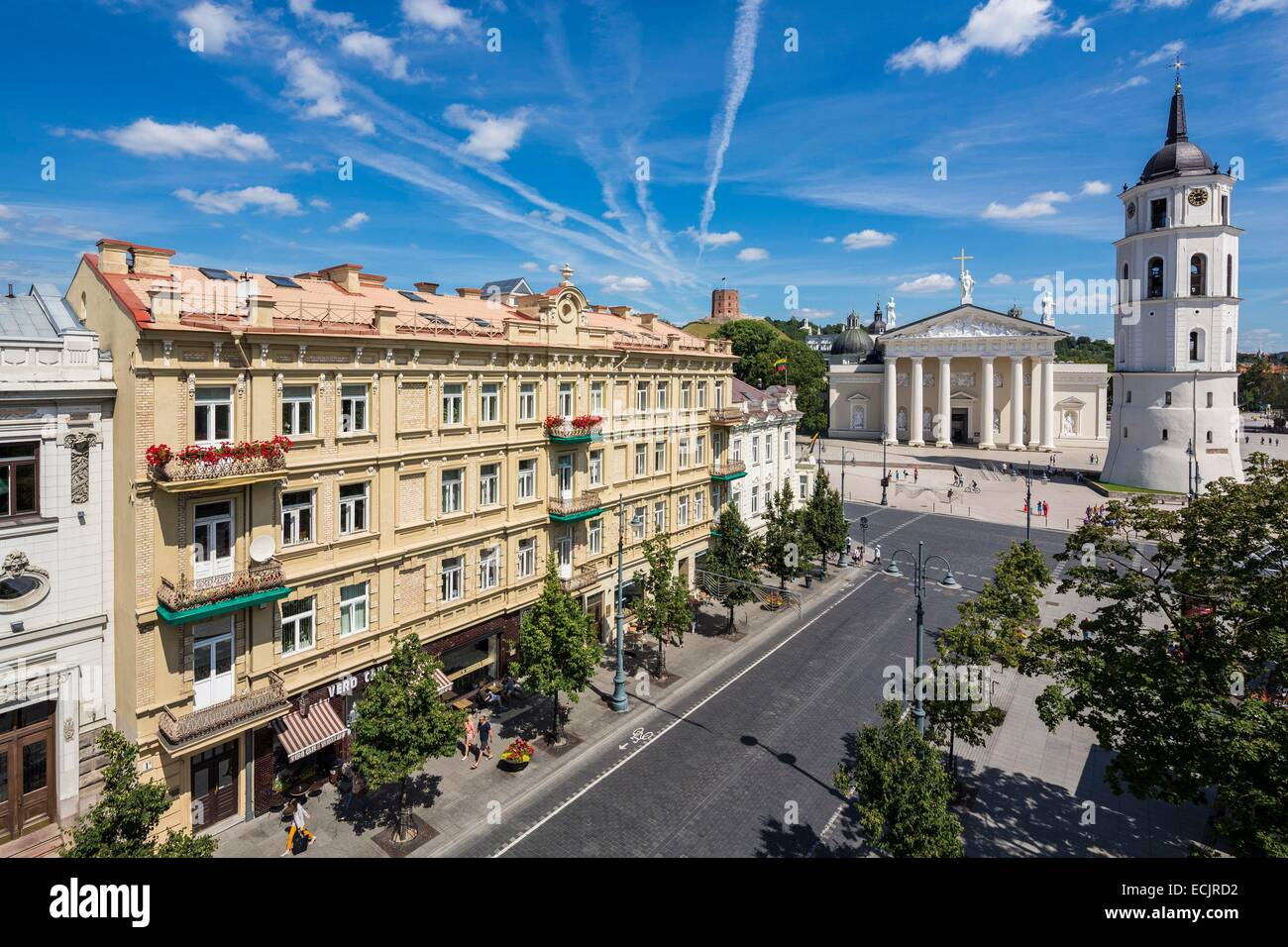 Lithuania (Baltic States), Vilnius, historical center, listed as World Heritage by UNESCO, Gedimino's avenue - Stock Image