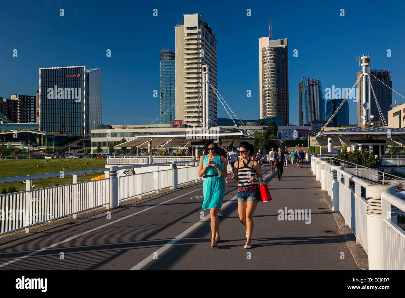 Lithuania (Baltic States), Vilnius, the new town since the White Bridge over the Neris - Stock Image