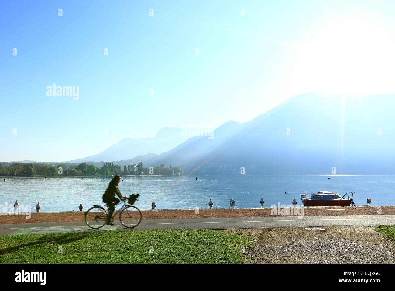 France, Haute Savoie, Annecy, dock the Spinner on the shores of Lake Annecy - Stock Image