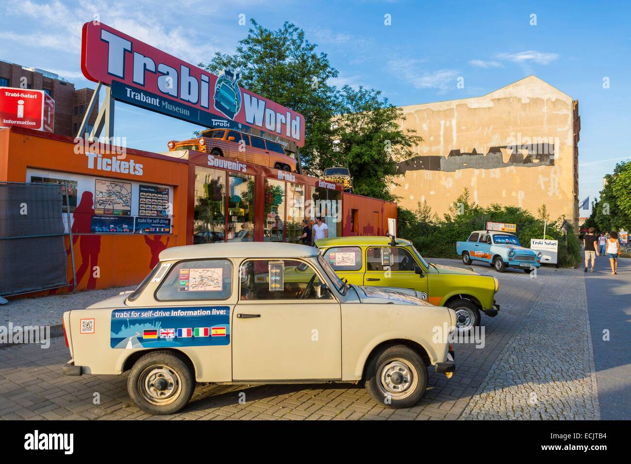 Germany, Berlin, East Berlin, Potsdamer Platz district, street Niederkirchnerstrasse, Trabant to rent (former car - Stock Image