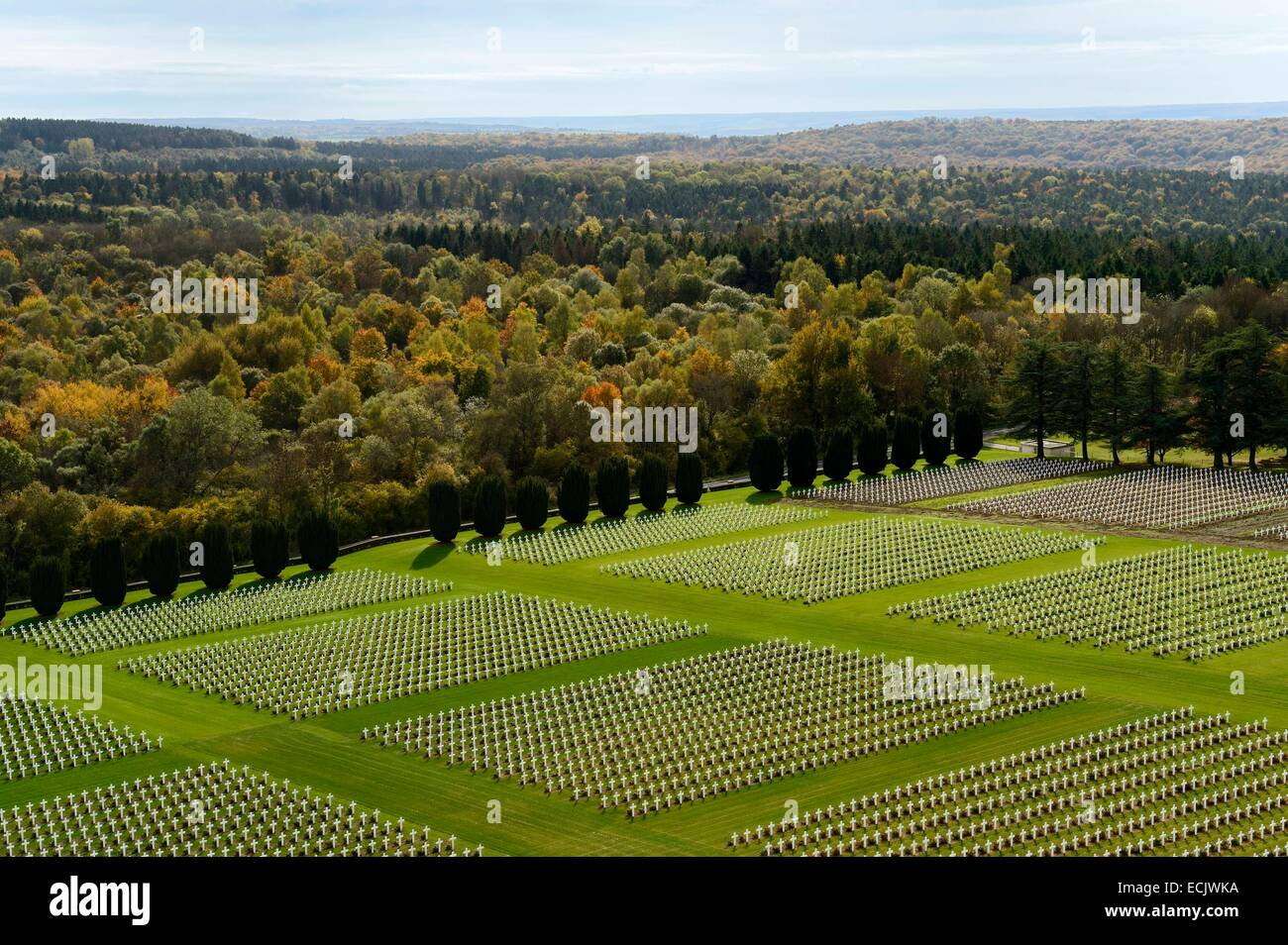 France, Meuse, Douaumont, battle of Verdun, ossuary of Douaumont, national necropolis, graves of soldiers alignment - Stock Image