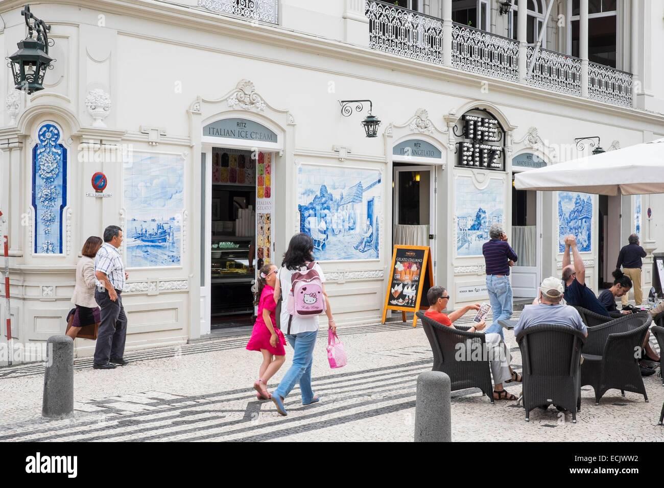 Portugal, Madeira island, Funchal, Ritz Cafe on Avenida Arriaga - Stock Image
